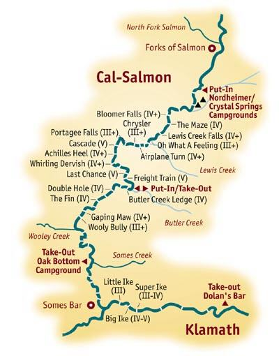 whitewater rafting river map for the California Salmon
